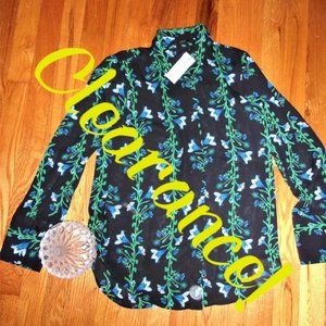 $60 NEW sheer floral blouse shirt top blue